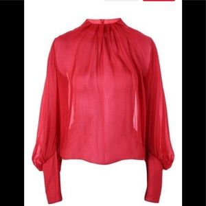 Topshop pleat neck silk blouse